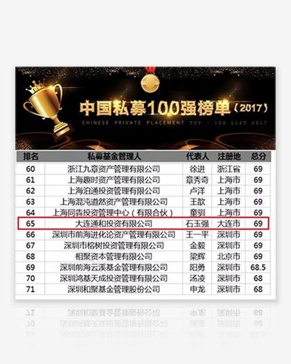 """七禾网评级中心发布的""""中国百强私募基金"""""""